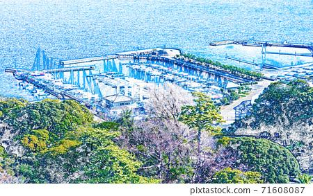 [插圖]湘南港(江之島遊艇港)(從海燭望去)[彩色鉛筆] 71608087