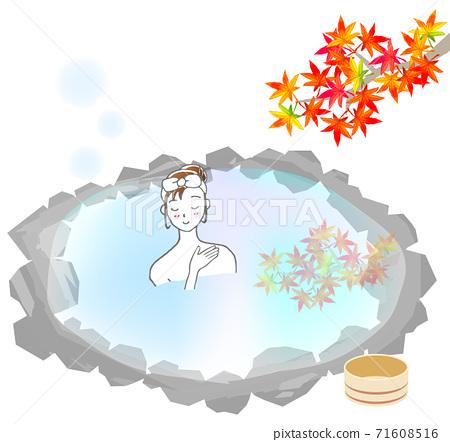 秋季露天浴池和婦女 71608516