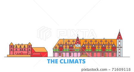 France, The Climats line cityscape, flat vector. Travel city landmark, oultine illustration, line world icons 71609118