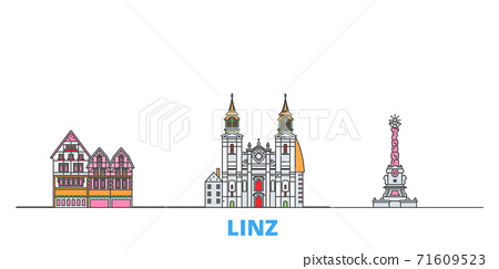 Austria, Linz line cityscape, flat vector. Travel city landmark, oultine illustration, line world icons 71609523