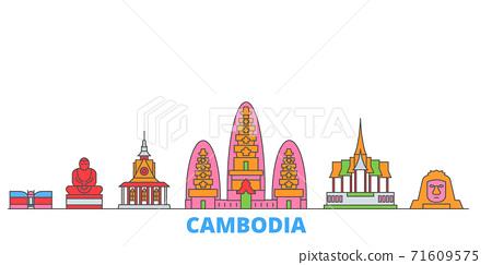 Cambodia line cityscape, flat vector. Travel city landmark, oultine illustration, line world icons 71609575