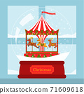 Christmas card reindeer corousel in snow globe by the window 71609618