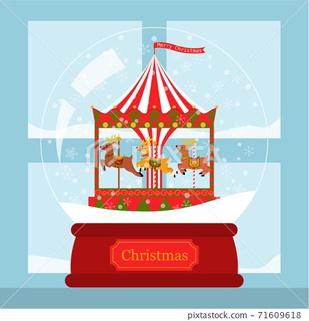 Christmas card reindeer corousel in snow globe by the window 71609618
