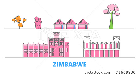 Zimbabwe line cityscape, flat vector. Travel city landmark, oultine illustration, line world icons 71609830