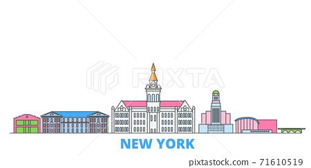 United States, New York Buffalo line cityscape, flat vector. Travel city landmark, oultine illustration, line world icons 71610519