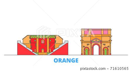 France, Orange line cityscape, flat vector. Travel city landmark, oultine illustration, line world icons 71610565