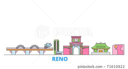 Vietnam, Reno, Danang line cityscape, flat vector. Travel city landmark, oultine illustration, line world icons 71610822