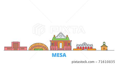 United States, Mesa line cityscape, flat vector. Travel city landmark, oultine illustration, line world icons 71610835