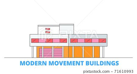 France, Modern Movement Buildings Landmark line cityscape, flat vector. Travel city landmark, oultine illustration, line world icons 71610993