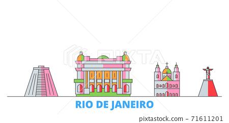Brazil, Rio De Janeiro line cityscape, flat vector. Travel city landmark, oultine illustration, line world icons 71611201