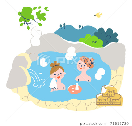 Two women soaking in a hot spring 71613780