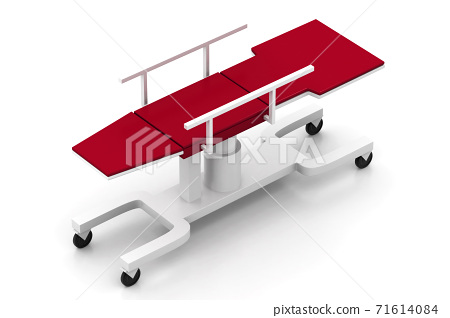 Medical bed on a white background. 71614084