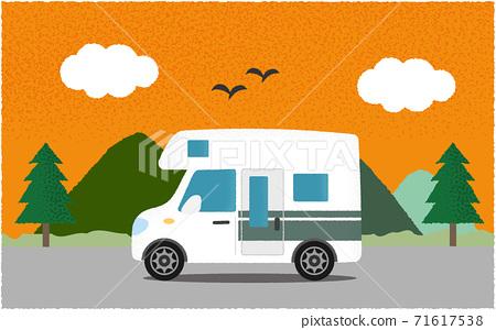 矢量圖的白色露營者在晚上沿著山路 71617538