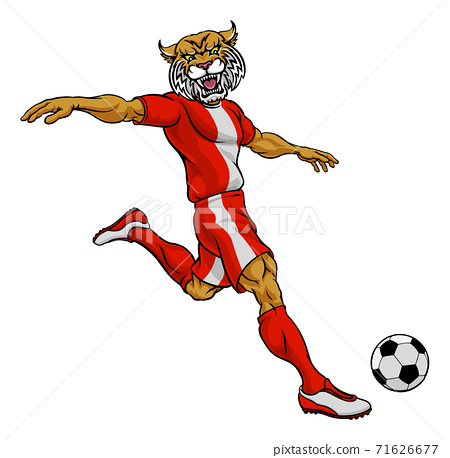 Wildcat Soccer Football Player Sports Mascot 71626677