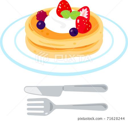 草莓和奶油煎餅 71628244