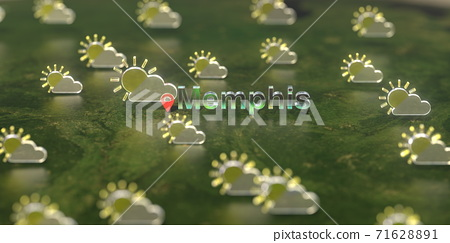Partly cloudy weather icons near Memphis city on the map, weather forecast related 3D rendering 71628891