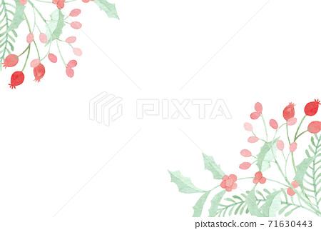水彩畫的冬季植物的框架 71630443