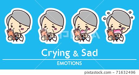 智能手機和女醫生的面部表情套裝/哭泣/悲傷 71632496