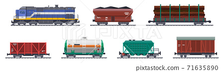 Train freight wagons, railway cargo containers vector 71635890