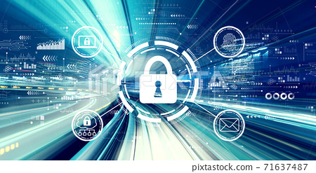 Internet network security concept with high speed motion blur 71637487