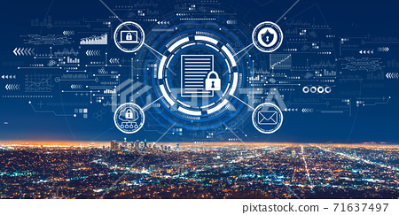 Data protection concept with downtown Los Angeles 71637497