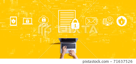 Data protection concept with person working with laptop 71637526