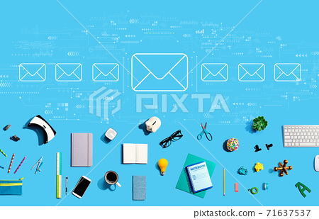 Email concept with electronic gadgets and office supplies 71637537
