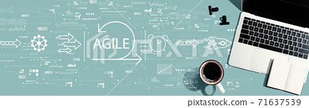 Agile concept with a laptop computer 71637539