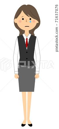 一個穿著哭泣的製服的女人 71637876