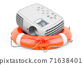 Image projector with lifebelt, 3D rendering 71638401