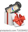 GPS navigation device inside gift box, present concept. 3D rendering 71638402