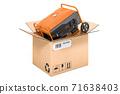 Gasoline generator inside cardboard box, delivery concept. 3D rendering 71638403