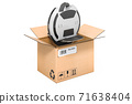 Electric unicycle or monowheel inside cardboard box, delivery concept. 3D rendering 71638404