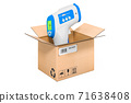 Digital Non-contact IR Infrared Thermometer inside cardboard box, delivery concept. 3D rendering 71638408