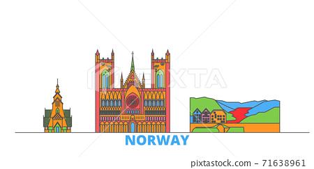 Norway line cityscape, flat vector. Travel city landmark, oultine illustration, line world icons 71638961