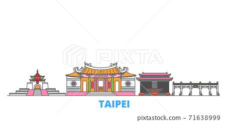 Taiwan, Taipei line cityscape, flat vector. Travel city landmark, oultine illustration, line world icons 71638999