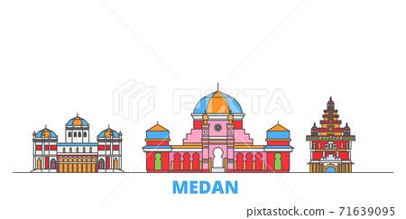 Indonesia, Medan line cityscape, flat vector. Travel city landmark, oultine illustration, line world icons 71639095