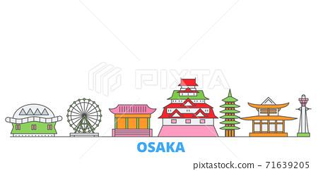 Japan, Osaka line cityscape, flat vector. Travel city landmark, oultine illustration, line world icons 71639205