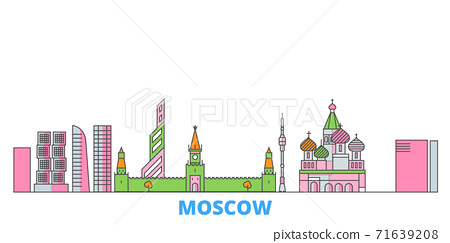 Russia, Moscow City line cityscape, flat vector. Travel city landmark, oultine illustration, line world icons 71639208