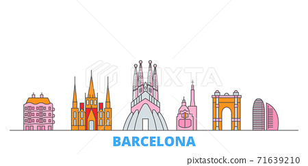 Spain, Barcelona City line cityscape, flat vector. Travel city landmark, oultine illustration, line world icons 71639210