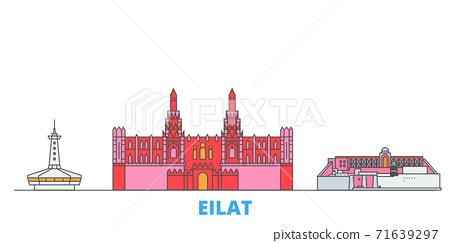 Israel, Eilat line cityscape, flat vector. Travel city landmark, oultine illustration, line world icons 71639297