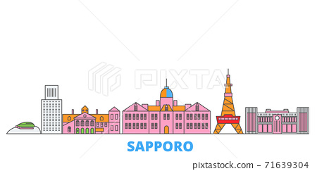 Japan, Sapporo line cityscape, flat vector. Travel city landmark, oultine illustration, line world icons 71639304