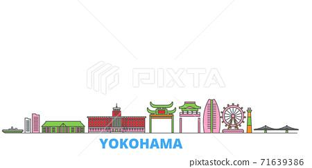Japan, Yokohama line cityscape, flat vector. Travel city landmark, oultine illustration, line world icons 71639386