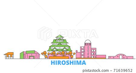 Japan, Hiroshima line cityscape, flat vector. Travel city landmark, oultine illustration, line world icons 71639652