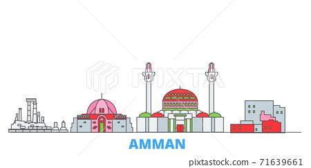 Jordan, Amman line cityscape, flat vector. Travel city landmark, oultine illustration, line world icons 71639661
