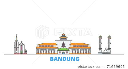 Indonesia, Bandung line cityscape, flat vector. Travel city landmark, oultine illustration, line world icons 71639695