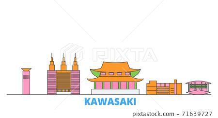 Japan, Kawasaki line cityscape, flat vector. Travel city landmark, oultine illustration, line world icons 71639727