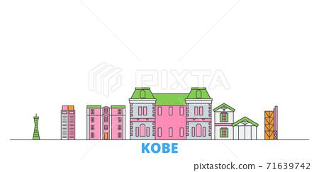 Japan, Kobe line cityscape, flat vector. Travel city landmark, oultine illustration, line world icons 71639742