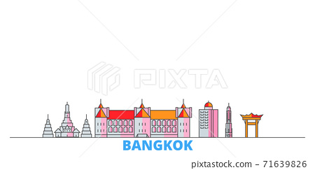 Thailand, Bangkok City line cityscape, flat vector. Travel city landmark, oultine illustration, line world icons 71639826