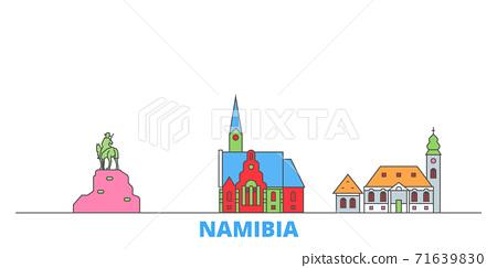 Namibia line cityscape, flat vector. Travel city landmark, oultine illustration, line world icons 71639830